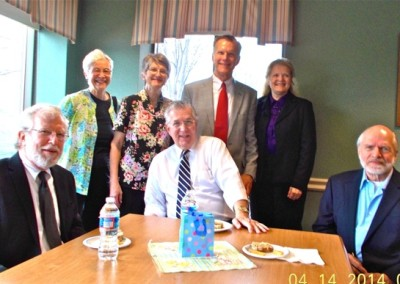 Attending the Memorial Service for Mary Martha Jamison Seated left to right:  George Reed, Glenn Jamison, Ed Pollock Standing left to right:  Erika Lauffer*, Sandra Jamison, Steve Jamison, Deborah Jamison von Zinkernagel *Erika taught at the School in Tanta, Egypt