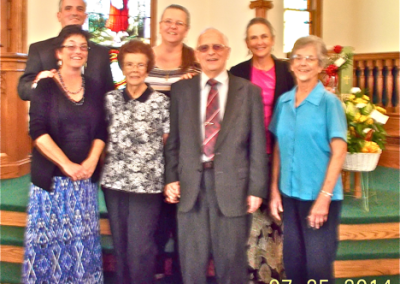 Front left to right: Rachel Nolin Gillespie<br /> Ada Margaret Hutchison Schutz Class of 1941<br /> Kenneth Nolin Schutz Class of 1945<br /> Nancy Nolin Mast Schutz Class of 1950<br /> Back left to right: Douglas Nolin Schutz Class of 1977, Susan Nolin Shopland Schutz Class of 1973, Sharon Nolin Schutz Class of 1975