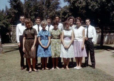 1962 Cameroon Students - Back Row - Ambruster?, Alex Exarcos, Harry Amspoker, Jeff Dietrich, Ellen Gould, Bill Brook.  Front Row - Ruth Galloway, Debbie Neeley, Susie Dietrch, Mary Beth Neeley and ?
