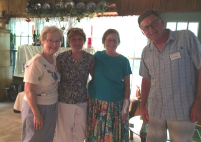 Friday, July 21 at the welcome dinner at Merrianne and Gib McGill's house - L to R - Barbara McKelway, Carolyn Pollock, Kathryn Ammon, Ken Cooke