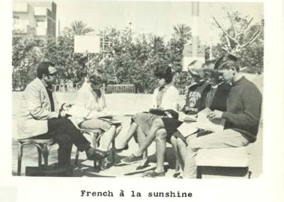 8 - French class on the b-ball court, 1965-1966 – left to right – Christian Ayoub, Professor, Ruth Sandilands, Carolyn Ainley, Chloe Swart, Alice Meloy, Bruce Yount.  Info sent in by Charlotte Weaver-Gelzer